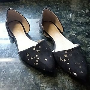 Black suede gold stars & moons flats